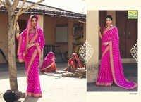 Designer Border Bandhani Saree
