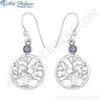 Flower Of Life Amethyst Silver Earring