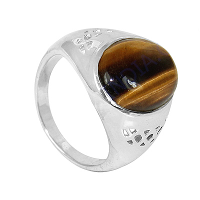 Tiger Eye Gemstone Silver Ring