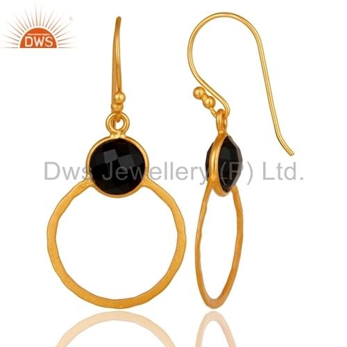 Black Onyx Gemstone Drop Earrings Manufacturer India