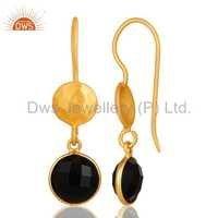 Sterling Silver Black Onyx Gemstone Dangle Earrings