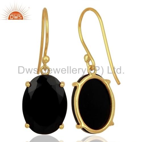 Black Onyx Gemstone Sterling Silver Earrings