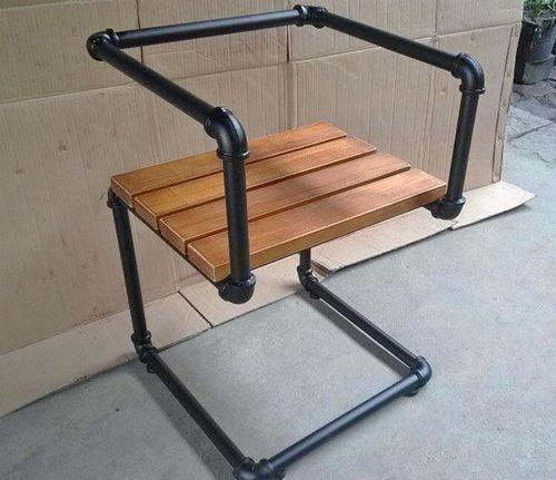 Black Pipe Bar Chair
