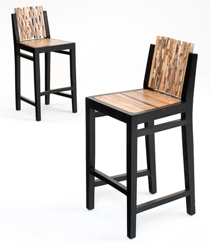 Black Frame Wooden Sheet Bar Chair