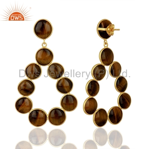 Tiger Eye Gemstone 925 Silver Dangle Earrings