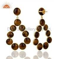 Tiger Eye Gemstone 925 Silver Dangle Earrings