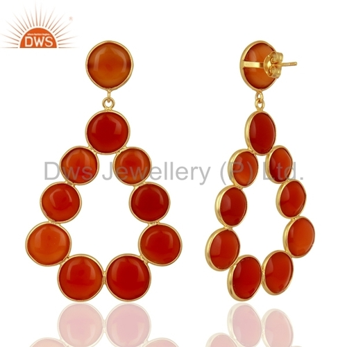 Red Onyx Gemstone Sterling Silver Dangle Earrings