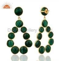 Natural Malachite Gemstone Dangle Earrings