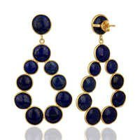 Natural Gemstone Gold Plated 925 Silver Earrings