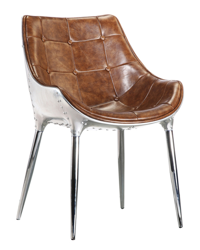 Vintage Aviation Leather Seat Dining Chair