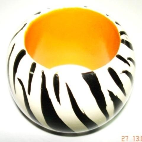 White Black Stripe Napkin Ring