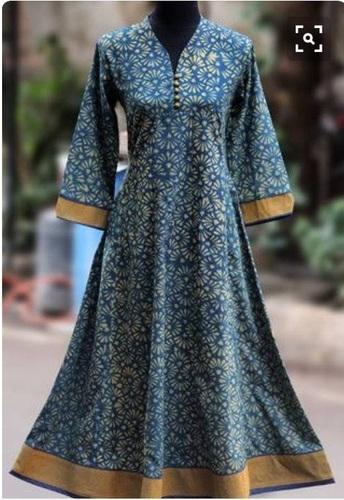 Designer Flower Print Blue Long Dress