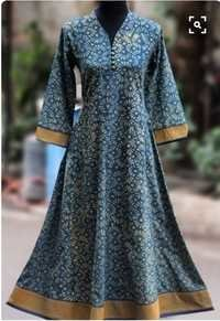 Designer Flower Print Blue Long Dress