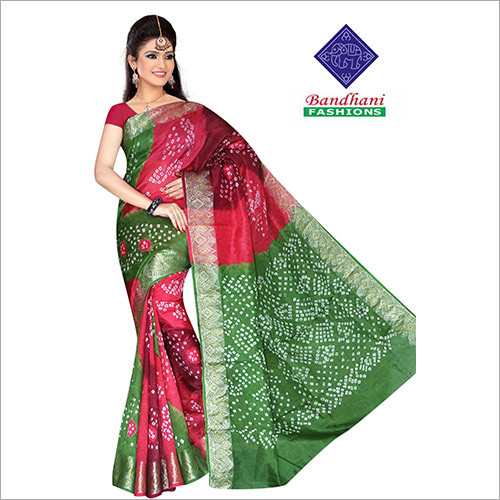 Bandhani Sarees in Green Art Silk