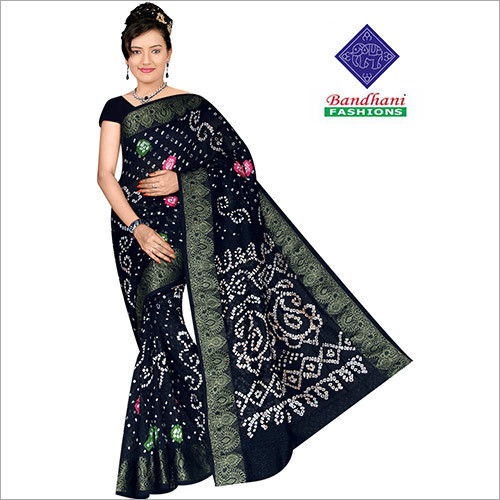 Bandhani Sarees in Black with Border Art Silk