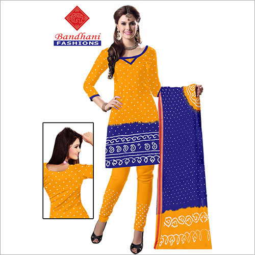 Bandhani Ladies Cotton Dress Material