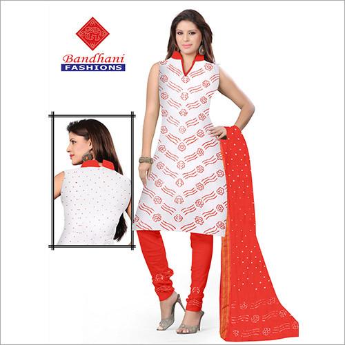 Bandhani Ladies Designer Cotton Dress Material