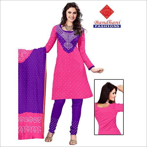 Jamnagar Bandhani Printed Cotton Dress Material