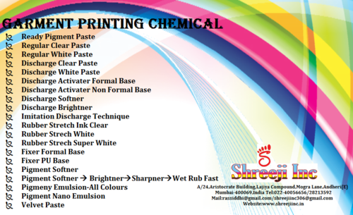 Garment printing chemical