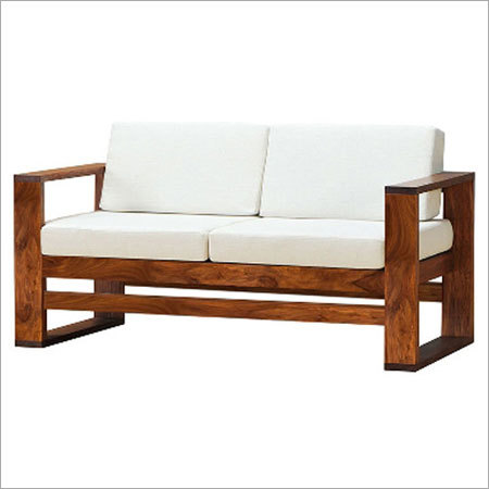 Two Seater Sheesham Wood Sofa With Cushion
