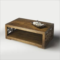 Wooden Center Table with Carved Panels