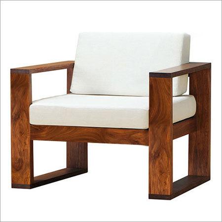 Sheesham Wood Single Seater Sofa With Cushion