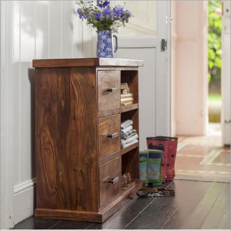 Sheesham Wood Storage Cabinet With 3 Drawers