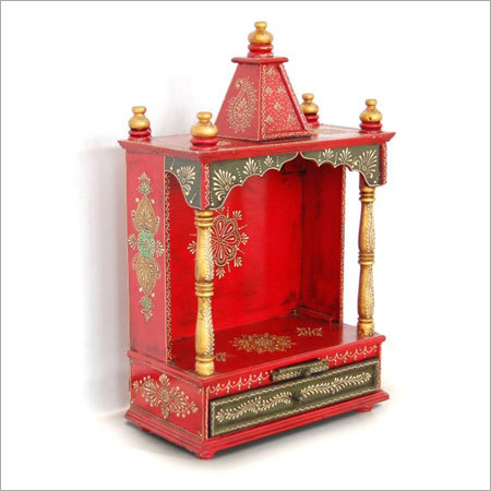Handcrafted Painted Wooden Home Mandir
