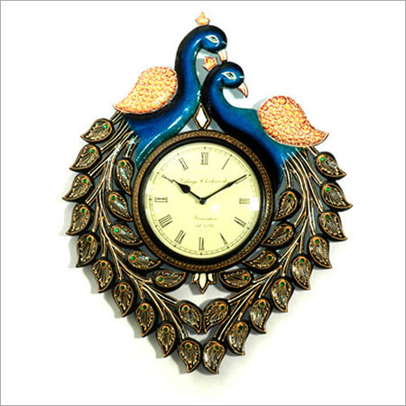 Carved Peacock Shape Hand Painted Wall Clock