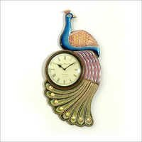 Hand Painted Peacock Wall Clock