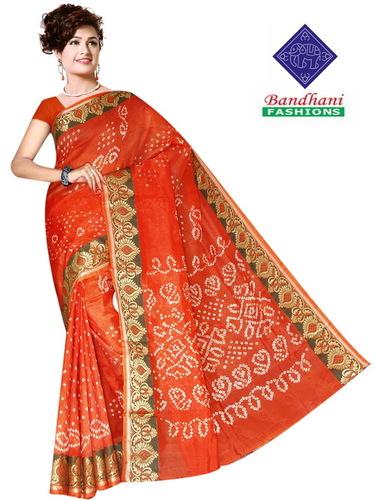 Orange Bandhani Sarees Art Silk