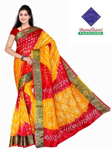 Bandhani Sarees in Red Yellow Art Silk