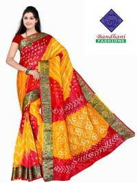 Bandhani Sarees in Red Yellow Art Silk