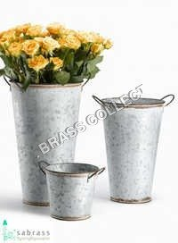 Galvanized Garden Flower Pot