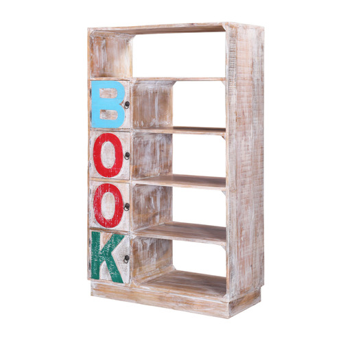 Winter Wash Rustic Open Concept Bookcase