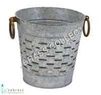 Galvanized Rust Round Olive Bucket