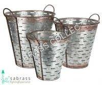 Galvanized Garden Round Bucket S/O 3 Pcs