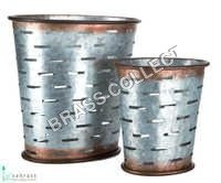 Galvanized Garden Oval Olive Bucket S/O 2 Pcs