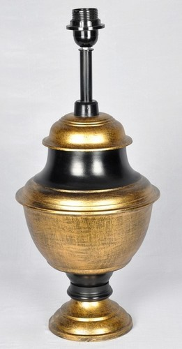 BRASS ANTIQUE AND BLACK TABLE LAMP