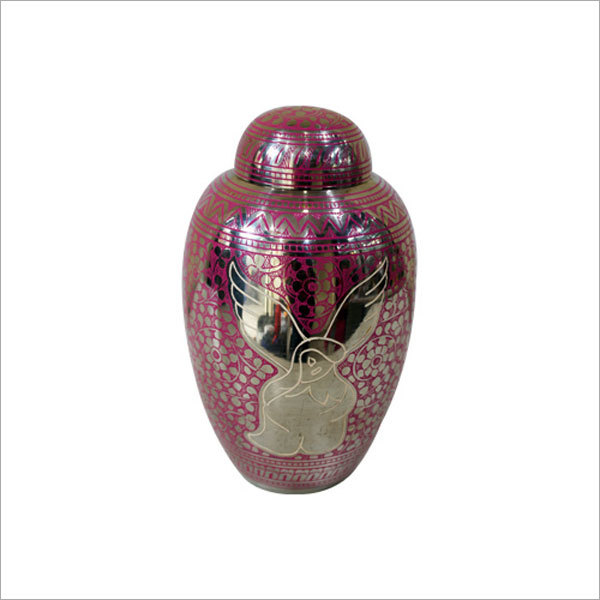 Anglel Engraved Dome Shape Cremation Urn