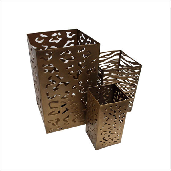Exotic Bronze Cut Out Hurricane Candle Holder