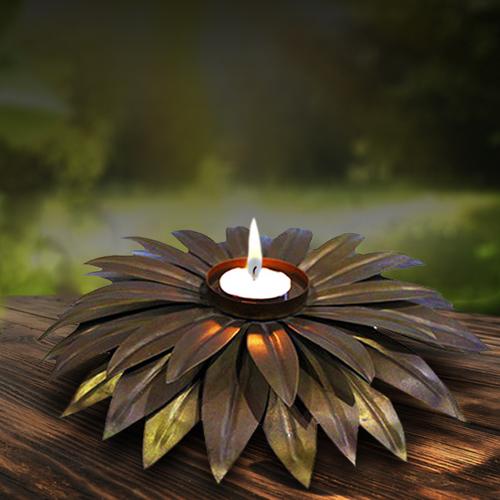 Metal Flower Tea Light Holder