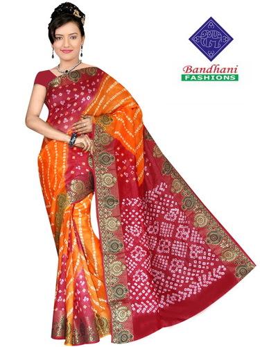 Bandhani Creap Silk Sarees
