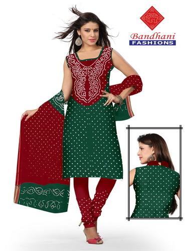 Bandhani Gadhwal Silk Dress Material