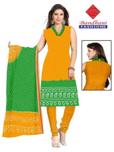 Bandhani Gaji Silk Dress Material Jamnagar