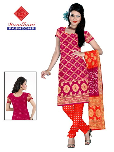 Bandhani Pure Silk Dress Material Gujarat