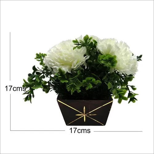 Artificial White Carnation Arrangement With Wooden Pot