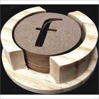 Round Wooden Coaster ( F Design)