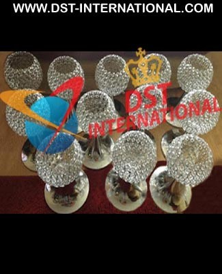 Wedding Crystal Center Pieces Brass Metal Crystal