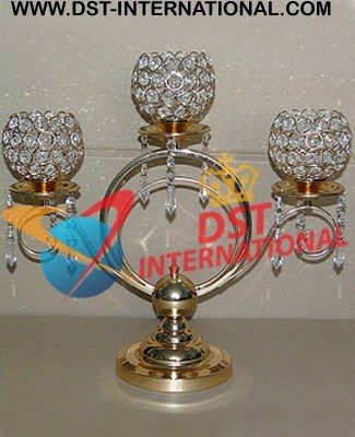 Wedding Crystal Center Pieces Brass Metal Crystal